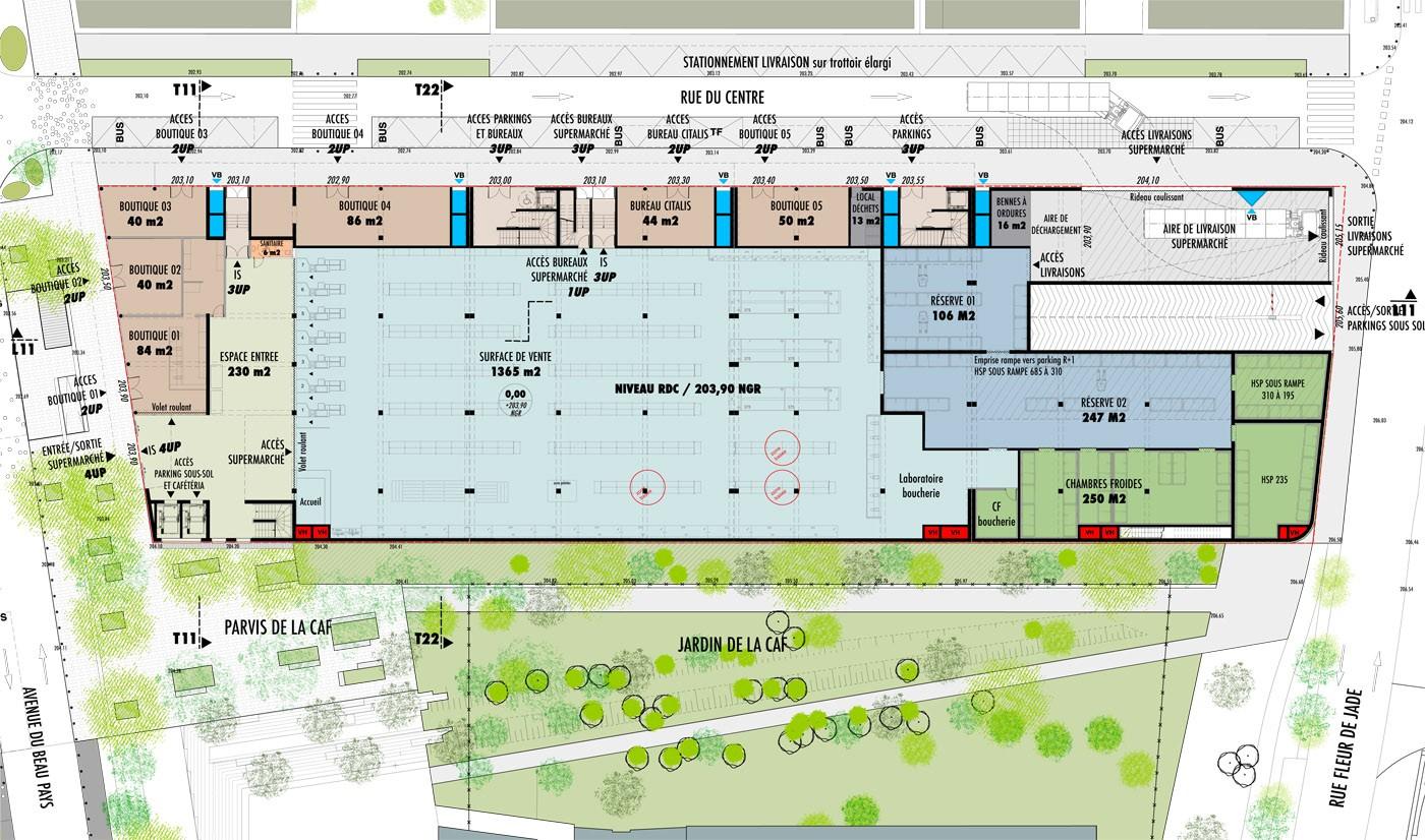Tekhn architectes centre commercial parking et bureaux for Acheter des plans architecturaux